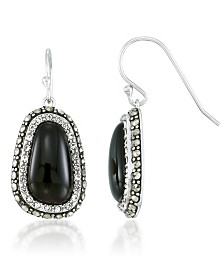 Onyx (16x9mm), Crystal & Marcasite Earrings in Sterling Silver