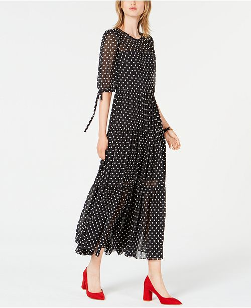 e5fb1088435 Betsey Johnson Chiffon Polka-Dot Maxi Dress   Reviews - Dresses ...