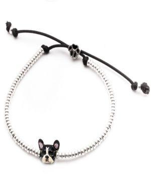 DOG FEVER French Bulldog Head Bracelet In Sterling Silver And Enamel in Black