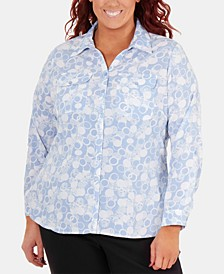 Plus Size Printed Button-Front Shirt
