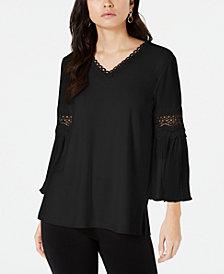 Alfani Crochet-Trim Pleated-Sleeve Top, Created for Macy's