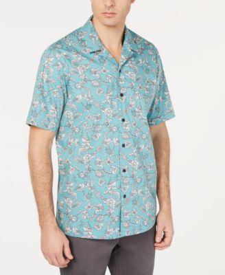 short sleeve men\u0027s shirts macy\u0027stasso elba men\u0027s notte floral graphic shirt, created for macy\u0027s