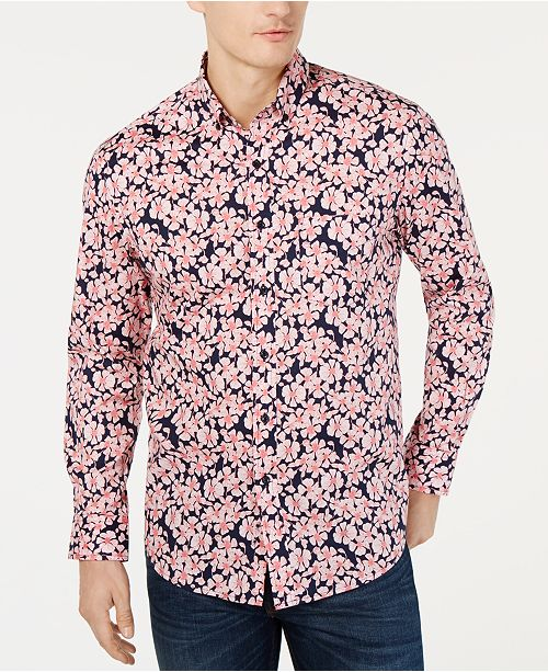 Club Room ShirtReviews boutons a Bleu Floral a courtes Graphic manches Homme Altona Chemises marine VSpUGLqzM