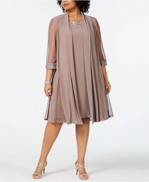 Plus-Size Embellished Dress & Jacket Set