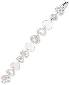 Givenchy Silver-Tone Pavé Heart Flex Bracelet