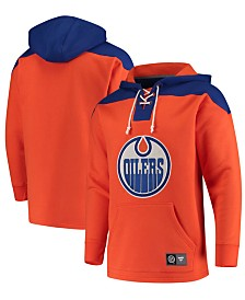 Majestic Men's Edmonton Oilers Breakaway Lace Up Hoodie
