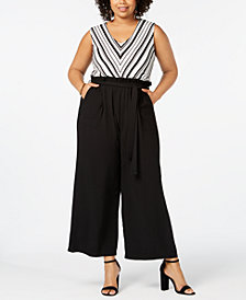 Monteau Trendy Plus Size Belted V-Neck Jumpsuit