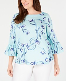 Charter Club Plus Size Linen Floral-Print Bell-Sleeve Top, Created for Macy's