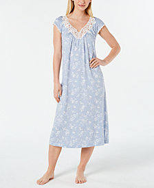 Charter Club Flutter-Sleeve Printed Knit Nightgown, Created for Macy's