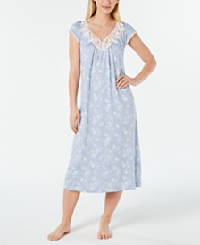 Charter Club Flutter-Sleeve Printed Soft Knit Nightgown, Created for Macy's