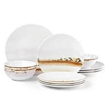 Watercolor Horizons Microwave Safe Blue 12-Pc. Dinnerware Set, Service for 4, Created for Macy's