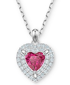 "Two-Tone Crystal Heart 14-7/8"" Pendant Necklace"