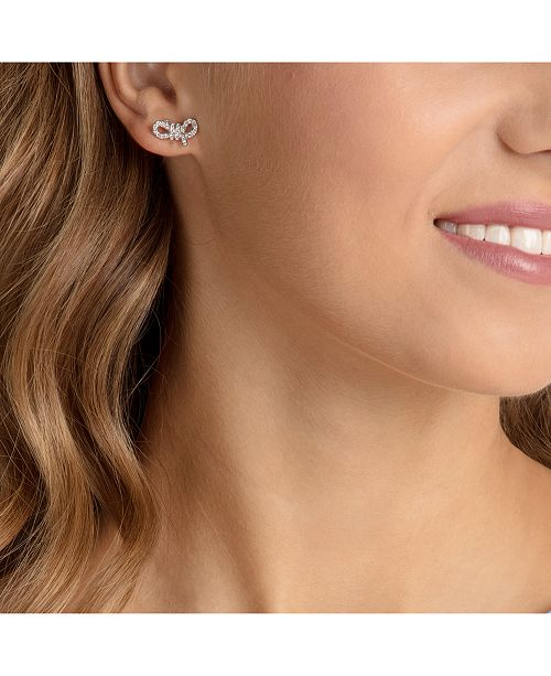 Silver Tone Pavé Small Bow Stud Earrings