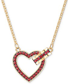 "Swarovski Gold-Tone Pavé Heart & Circle 16-1/2"" Pendant Necklace"