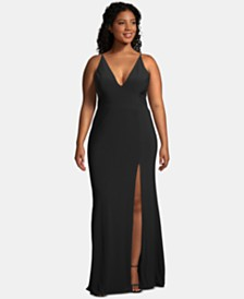 XSCAPE Plus Size Embellished Illusion-Inset Gown