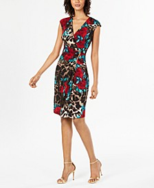 Petite Mixed-Print Sheath Dress