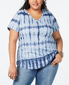 Style & Co Cotton Plus Size Printed V-Neck Top, Created for Macy's