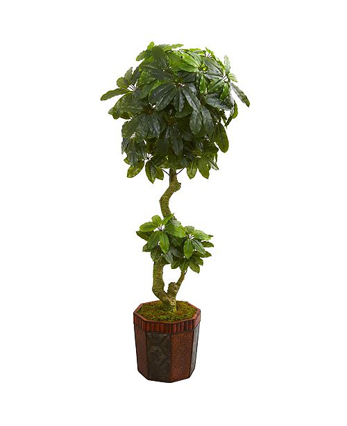 Nearly Natural 6' Schefflera Artificial Tree in Bamboo Planter