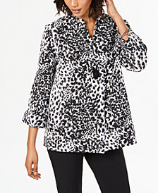 JM Collection Animal-Print Swing Jacket, Created for Macy's