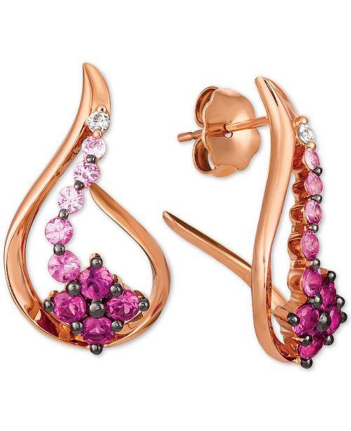 Le Vian Strawberry Layer Cake Multi-Gemstone Ombré Swirl Flower Drop Earrings (1-1/3 ct. t.w.) in 14k Rose Gold