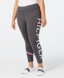 Tommy Hilfiger Plus Size High Rise Long Length Logo Leggings