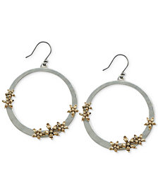 Lucky Brand Two-Tone Flower Drop Hoop Earrings
