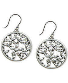 Lucky Brand Silver-Tone Flower Openwork Coin Drop Earrings