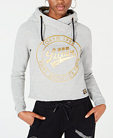 Superdry Cropped Metallic Graphic Hoodie