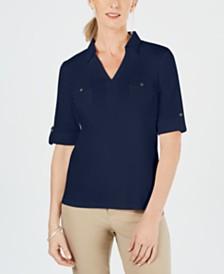 Karen Scott Petite Collared Shirt, Created for Macy's