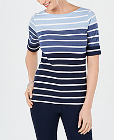 Karen Scott Petite Calla Stripe T-Shirt, Created for Macy's