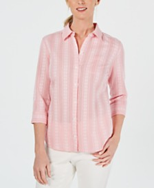 Karen Scott Petite Striped Button-Up Shirt, Created for Macy's