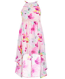 Sequin Hearts Big Girls Floral-Print High-Low Hem Dress