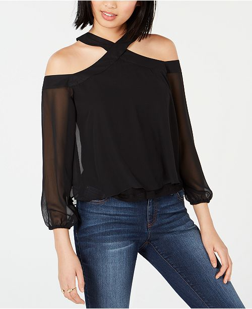 Bar III Cold-Shoulder Chiffon Overlay Mixed Media Top, Created for Macy's