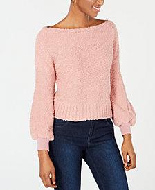 Bar III Bishop-Sleeve Fuzzy Textured Sweater, Created for Macy's