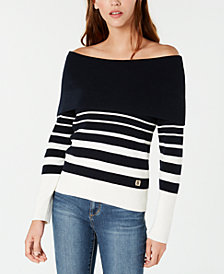 Tommy Hilfiger Striped Off-The-Shoulder Sweater, Created for Macy's