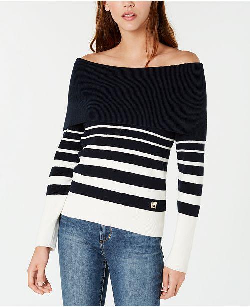 6d5284641d3 ... Tommy Hilfiger Striped Off-The-Shoulder Sweater