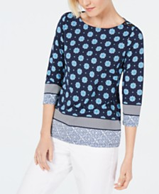 Charter Club Printed Boat-Neck Top, Created for Macy's
