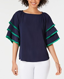 Charter Club Tiered Fringe-Trim Sleeve Top, Created for Macy's