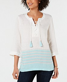 Linen Lace-Up Striped Top, Created for Macy's