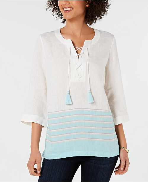 Charter Club Linen Lace-Up Striped Top, Created for Macy's