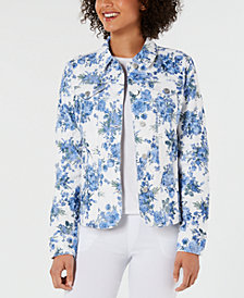 Charter Club Floral-Print Button-Up Jacket, Created for Macy's