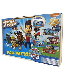 Nickelodeon Paw Patrol 7 Wood Jigsaw Puzzles in Wood Storage Box