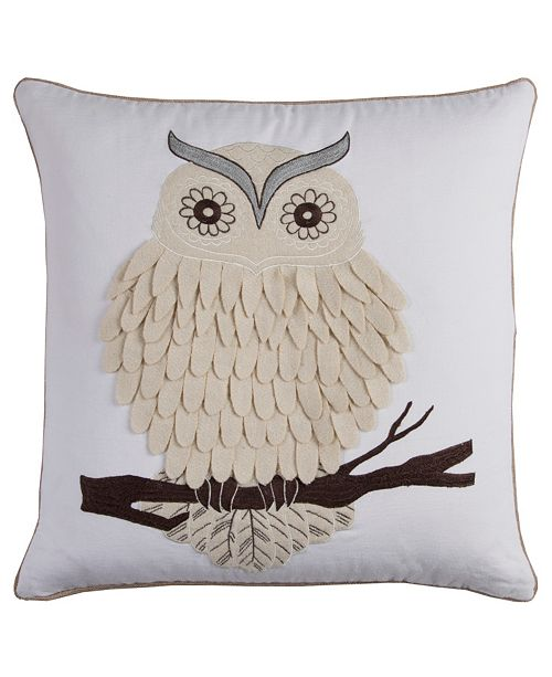"""Rizzy Home 20"""" x 20"""" Owl Down Filled Pillow"""