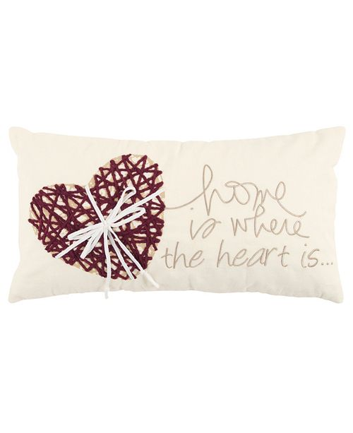 """Rizzy Home 11"""" x 21"""" Heart Down Filled Pillow"""