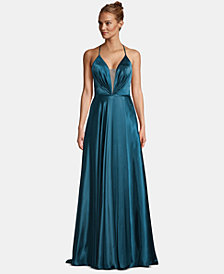 Betsy & Adam Lace-Up Illusion Satin Gown