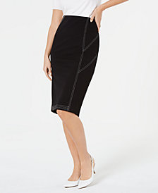 Alfani Contrast Stitch Midi Skirt, Created for Macy's