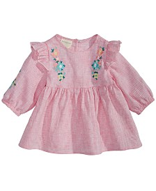 First Impressions Baby Girls Striped Floral-Embroidered Top, Created for Macy's