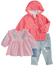 First Impressions Baby Girls Hooded Jacket, Embroidered Top & Patches Jeans, Created for Macy's