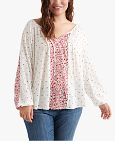 Lucky Brand Plus Size Mixed-Print V-Neck Top