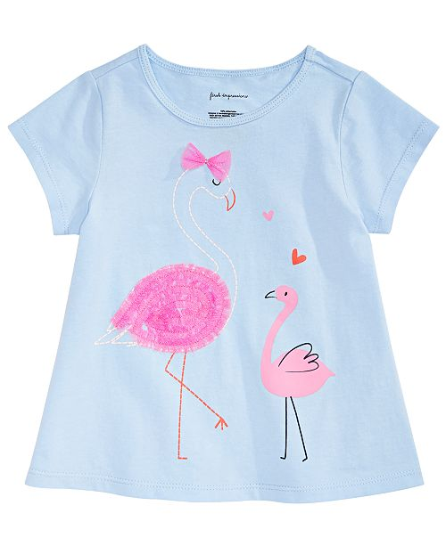843eff915 First Impressions Toddler Girls Flamingo-Print T-Shirt, Created for Macy's